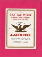 Etiquette Vin, Château Melin, Sables-Saint-Emilion, 1966 - Collections, Lots & Séries