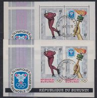 Burundi 1968 Olympic Wintergames 2 M/s (perf+IMPERFORATED) Used (41513A) - 1962-69: Afgestempeld