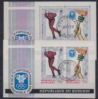 Burundi 1968 Olympic Wintergames 2 M/s (perf+IMPERFORATED) Used (41513A) - Burundi