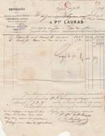 Facture LAURAS Fers Fontes Limes AGEN Lot Et Garonne 1868 Timbre Napoléon Pour Pellegrin L' Isle En Dodon - France