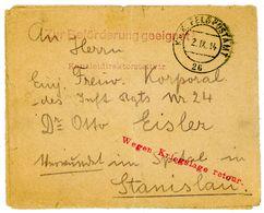 """K U K Feldpostbrief 1914 L 1 """"Wegen Kriegsgefahr Zurück"""" - Siegel Des 24. K U K Infanterie Regimentes - Occupation 1914-18"""