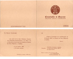 Invitation - Connétablie De Guyenne - Chateau Ducal D' Epernon - CADILLAC (Gironde) 1959  (110767) - Non Classés