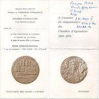 Invitation - Cinquantenaire Des Chambres D' Agriculture - 1924-1974 - Hotel Intercontinental -Paris   (110768) - Faire-part