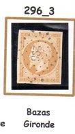 France : Petit Chiffre N°296 : Bazas ( Gironde ) Indice 3 - Marcophilie (Timbres Détachés)