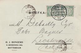 K Aart  Verstuurd : Rotterdam   57 => Lichtervelde /   G.J.Bongers N.Binnenweg 340a Rotterdam - 1891-1948 (Wilhelmine)