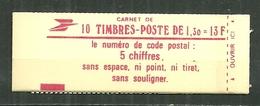 CARNET 2059 C 3 SABINE CARNET OUVERT Gomme Brillante Conf. 9 Code Postal - Markenheftchen