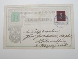 1907 , Ganzsache Aus Reykjavik - Entiers Postaux