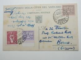 1933 , Ganzsache  In Die Schweiz - Vatican