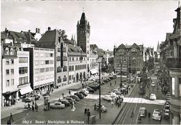 AK Basel, Marktplatz Und Rathaus 1957 - BS Bâle-Ville