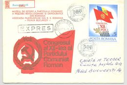 ROMANIAN COMMUNIST CONGRESS, REGISTERED SPECIAL COVER, 1979, ROMANIA - Cartas