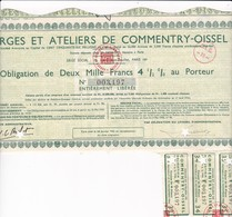 Th5FORGES : COMMENTRY-OISSEL : Obligation De 2000 Frs1952N° 16 - Actions & Titres