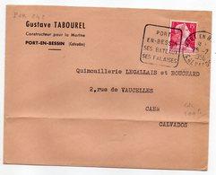 1956-Lettre De PORT EN BESSIN-14 Pour CAEN-14-cachet Daguin(Port,Bateaux,Falaises)-person. Gustave TABOUREL-marine - Marcophilie (Lettres)