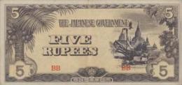 Burma 5 Rupee 1942 Pick 15b  AUNC - Myanmar