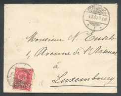 10c. ADOLPHE Obl. Dc ETTELBRUCK  Sur Enveloppe Le 4-8-1907 Vers Luxembourg - 13497 - 1895 Adolphe Right-hand Side