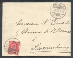 10c. ADOLPHE Obl. Dc ETTELBRUCK  Sur Enveloppe Le 4-8-1907 Vers Luxembourg - 13497 - 1895 Adolphe Profil