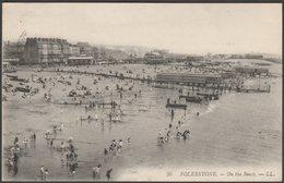 On The Beach, Folkestone, Kent, 1910 - Lévy Postcard LL30 - Folkestone