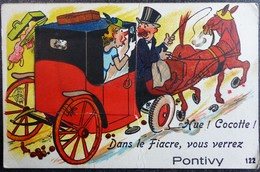 """Carte Humour à Système 56 """"Hue Cocotte Dans Le Fiacre Vous Verrez PONTIVY  """" Morbihan Attelage - Móviles (animadas)"""