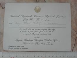1972 SFRJ YUGOSLAVIA JOSIP BROZ TITO INVITATION CARD TO RECEPTION OF Varahagiri Venkata Giri INDIA PRESIDENT  DIPLOMACY - Faire-part