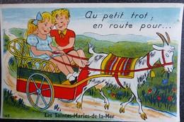 """Carte Humour à Système 13 Au Petit Trot En Route Pour Les SAINTES MARIES DE LA MER  """" Bouches Du Rhone Attelage Chevre - Móviles (animadas)"""