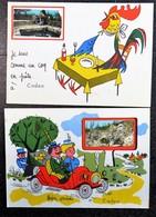 2 Cartes Bien Arrivés à CADEN Je Suis Comme Un Coq En Pate 56 Morbihan Gendarme Voiture - Greetings From...