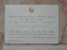 1972 SFRJ YUGOSLAVIA SFRJ JOSIP BROZ TITO INVITATION CARD RECEPTION Jean Bédel Bokassa CENTRAL AFRICA DIPLOMACY DIPLOMAT - Faire-part