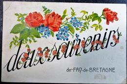 Carte Postale DOUX Souvenirs De FAY De Bretagne 44 Loire Atlantique Fleurs Ecrite Circulée 1945 - Gruss Aus.../ Gruesse Aus...