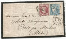 BORDEAUX 20C + 80C LAURE BOULE DE MOULINS GC 456 BESANCON 31 DEC 1870 ENVELOPPE DEUIL PARIS PAR MOULINS SIGNE CALVES - Postmark Collection (Covers)