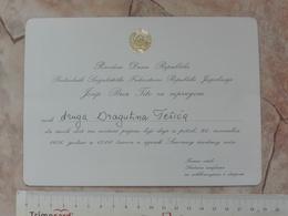 1976 SFRJ YUGOSLAVIA JOSIP BROZ TITO INVITATION CARD RECEPTION CONFERENCE  DIPLOMACY DIPLOMAT GALA RECEPTION POLITICS - Faire-part