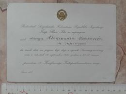 1963 SFRJ YUGOSLAVIA JOSIP BROZ TITO INVITATION CARD RECEPTION CONFERENCE Inter Parliamentary Union DIPLOMACY DIPLOMAT - Faire-part