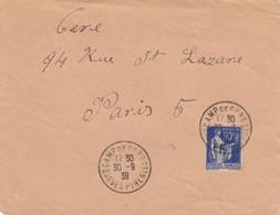 LETTRE. DEVANT. 30 9 39. PAIX 90 + F. CAMP D'INTERNEMENT DES REFUGIES ESPAGNOLS DE GURS  PYRENEES ORIENTALES  / 2 - Poststempel (Briefe)