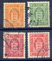 DENMARK 1902 Official Set Of 3 Plus 10 Øre Shade (1911), Used. - Dienstpost