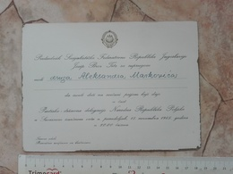 1965 SFRJ YUGOSLAVIA JOSIP BROZ TITO INVITATION CARD RECEPTION POLAND REPUBLIC FEDERAL COUNCIL POLITICAL PARTY POLITICS - Announcements