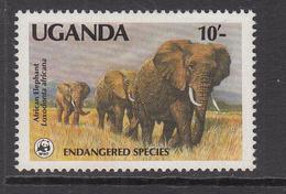 1988 Uganda WWF 10/= WWF Elephant RARE Set Of 1 MNH - Uganda (1962-...)