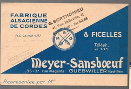 Guebwiller (68 Haut Rhin) Carte MEYER SANSBOEUF (fabrique De Cordes)  (PPP16421) - Advertising