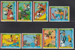 1992 Uganda 60th Anniv Walt Disney's Goofy Set Of 8 MNH - Uganda (1962-...)