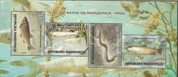 MK 2018-19 FISHES, MACEDONIA, S/S, MNH - Macédoine