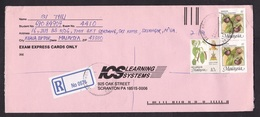Malaysia: Registered Cover To USA, 1989, 3 Stamps, Fruit, Berries, R-label Without City Name (opened At 3 Sides) - Malaysia (1964-...)