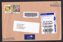 Malaysia: Registered Airmail Cover To Netherlands, 2011, 2 Stamps, Fruit, Flowers, R-label (minor Damage) - Maleisië (1964-...)