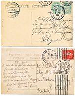 TARIF DESTINATION X 2 CP /          1905 PARIS => POLOGNE          ET 1909 CHAMBERY => RUSSIE - Marcophilie (Lettres)