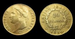 COPIE - 1 Pièce Plaquée OR Sous Capsule ! ( GOLD Plated Coin ) - 20 Francs Napoléon Tête Laurée 1814 A - France