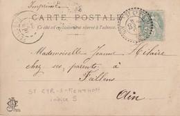 AIN CP 1902 ST CYR - S - MENTHON FACTEUR BOITIER TYPE 84 SUR 5C BLANC - Marcophilie (Lettres)