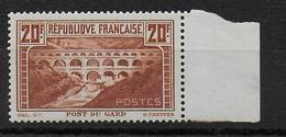1929 - YVERT N° 262A ** MNH TYPE I - SIGNE CALVES - COTE = 575 EUR. - PONT DU GARD - France