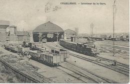 Charleroi Intérieur De La Gare. 1907. Locomotives Vapeur, Wagons, Château D'eau... - Estaciones Con Trenes