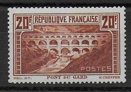 1929 - YVERT N° 262A * MLH TYPE I - CHARNIERE LEGERE - COTE = 350 EURO - PONT DU GARD - France