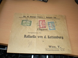 Airmail Flugpost Budapest To Wien  Repulo Posta 1K 50 F Overprint 1918 - Posta Aerea