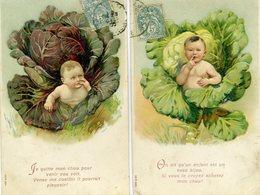 2 Cartes Gaufrées De JOLI BEBE SORTANT D'UN CHOU - Bébés