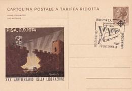 ITALIA  MARCOFILIA PISA XXX ANNIVERSARIO DELLA LIBERAZIONE CARTOLINA POSTALE A TARIFFA RIDOTTA 1974 - 6. 1946-.. Repubblica