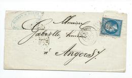 N°22 Sur Lettre De Vierzon Pour Angers  1863 - Marcophilie (Lettres)