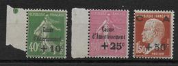 1928 - YVERT N° 253/255 ** MNH (TRES LEGERE ALTERATION DE GOMME) - COTE = 275 EUR. -  CAISSE AMORTISSEMENT - Unused Stamps