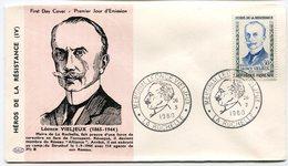 RC 10757 FRANCE FDC ENVELOPPE 1er JOUR LEONCE VIELJEUX HÉROS DE LA RÉSISTANCE LA ROCHELLE 1960 - 1960-1969